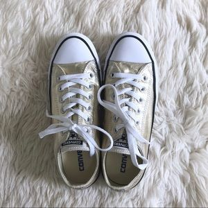 Gold Converse Low Tops Women's Size 7
